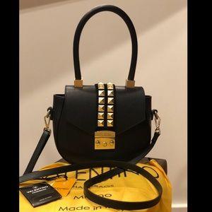 Valentino Black Leather Gold Stud Option Crossbody